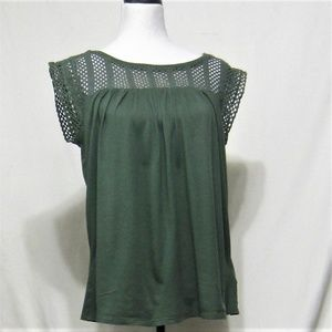 GAP, size S. Crochet trim Green pullover top